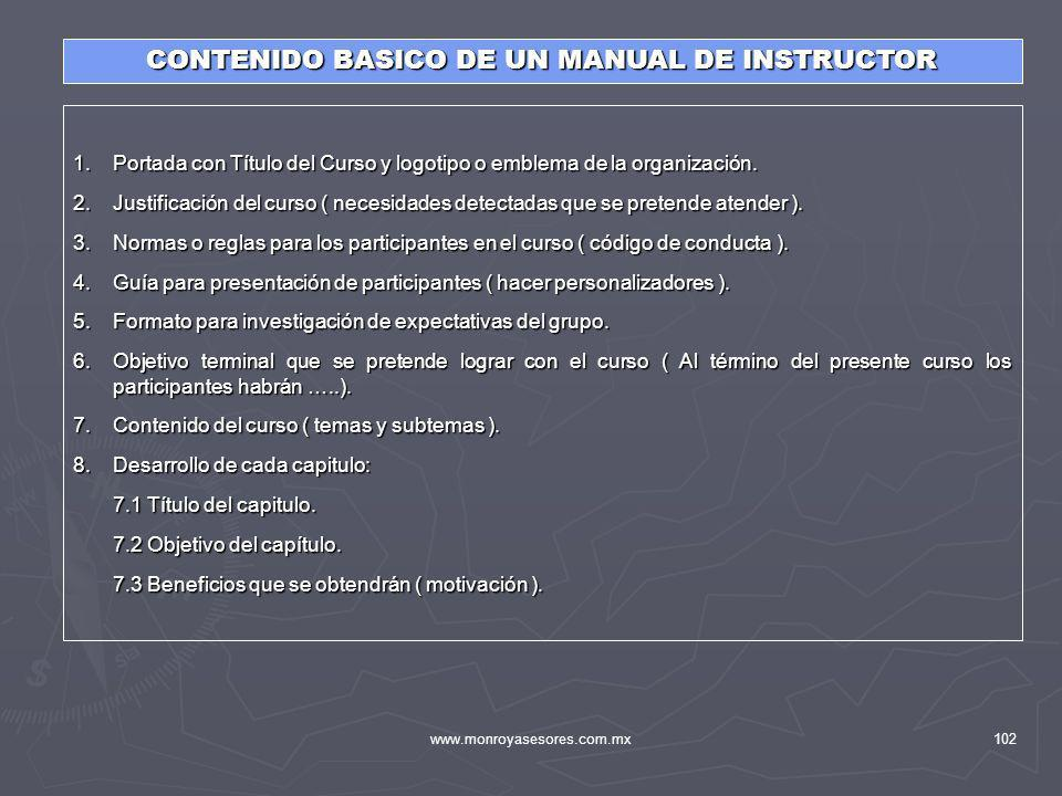 CONTENIDO BASICO DE UN MANUAL DE INSTRUCTOR