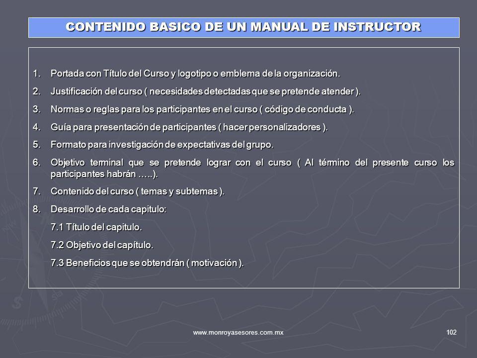 CONTENIDO BASICO DE UN MANUAL DE INSTRUCTOR