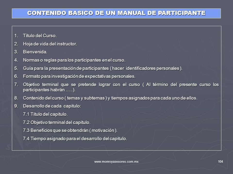 CONTENIDO BASICO DE UN MANUAL DE PARTICIPANTE