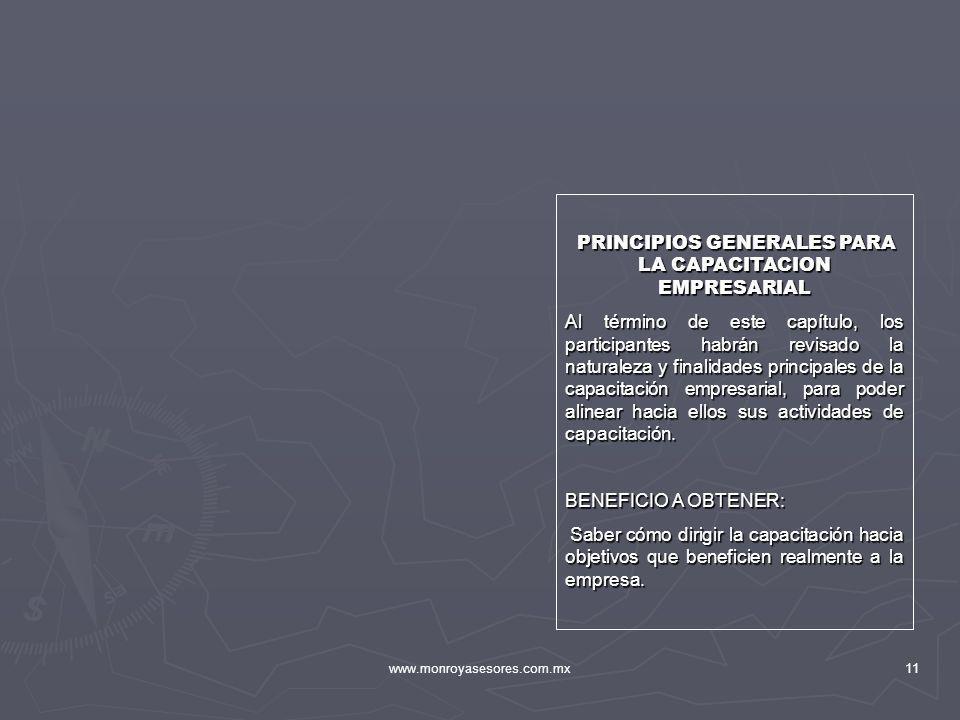 PRINCIPIOS GENERALES PARA LA CAPACITACION EMPRESARIAL