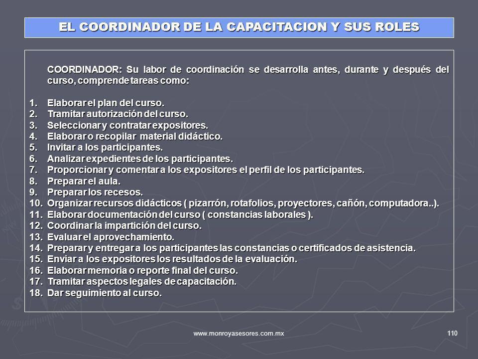 EL COORDINADOR DE LA CAPACITACION Y SUS ROLES