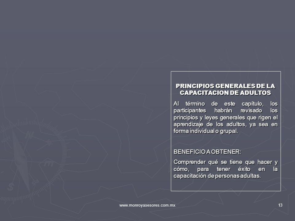 PRINCIPIOS GENERALES DE LA CAPACITACION DE ADULTOS