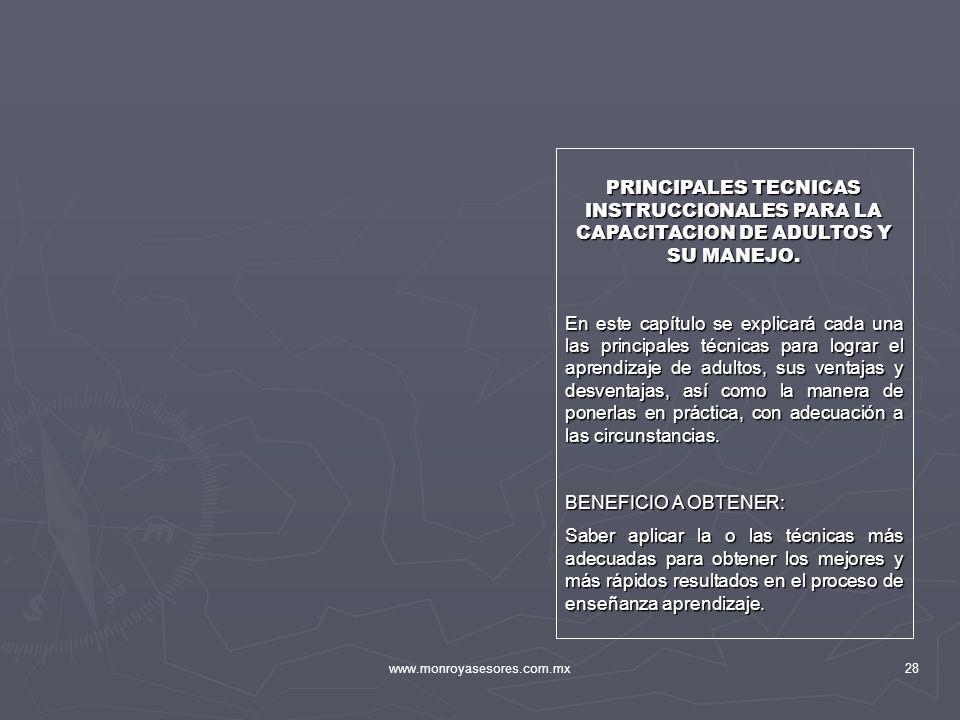 PRINCIPALES TECNICAS INSTRUCCIONALES PARA LA CAPACITACION DE ADULTOS Y SU MANEJO.