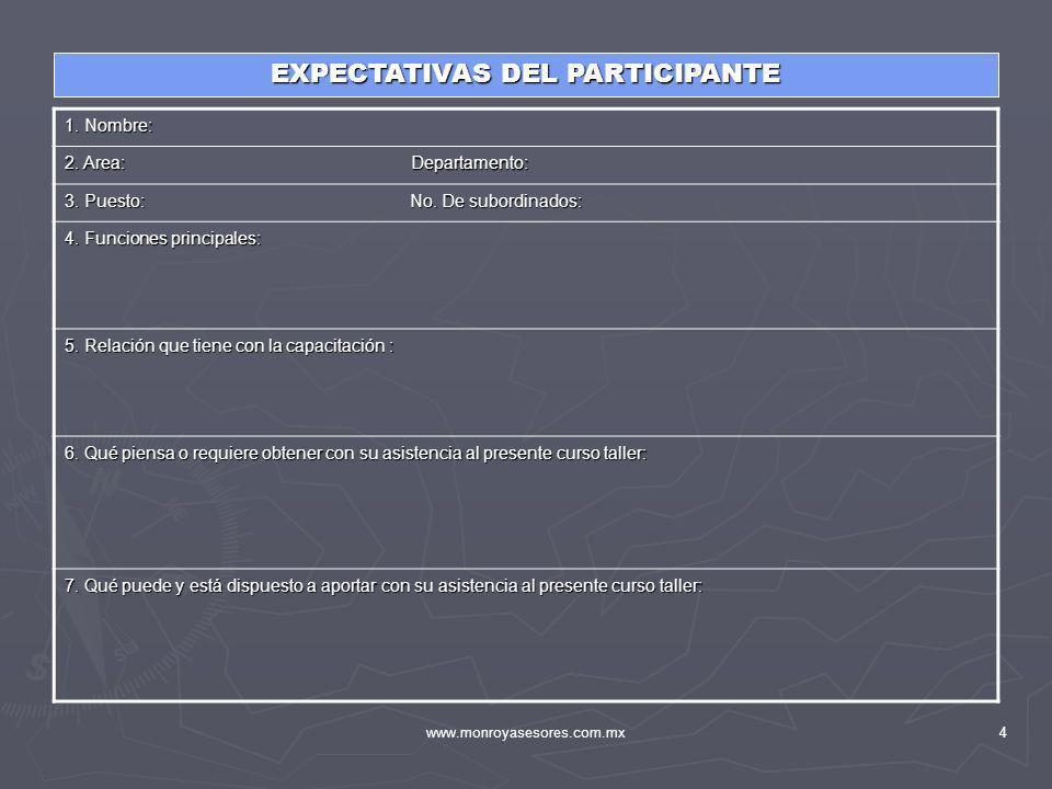 EXPECTATIVAS DEL PARTICIPANTE