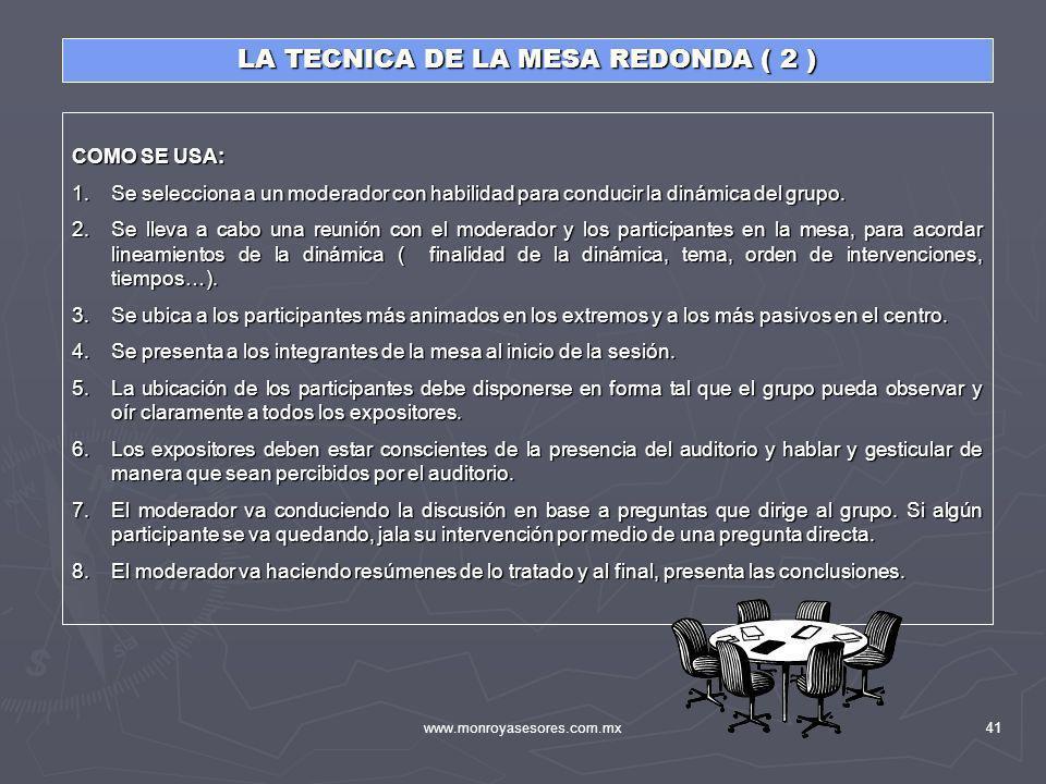 LA TECNICA DE LA MESA REDONDA ( 2 )
