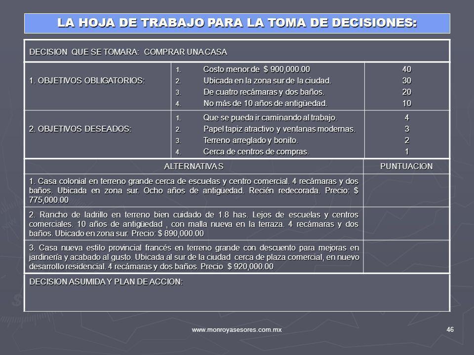 LA HOJA DE TRABAJO PARA LA TOMA DE DECISIONES: