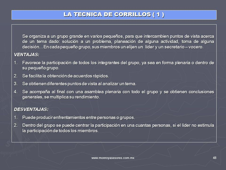 LA TECNICA DE CORRILLOS ( 1 )