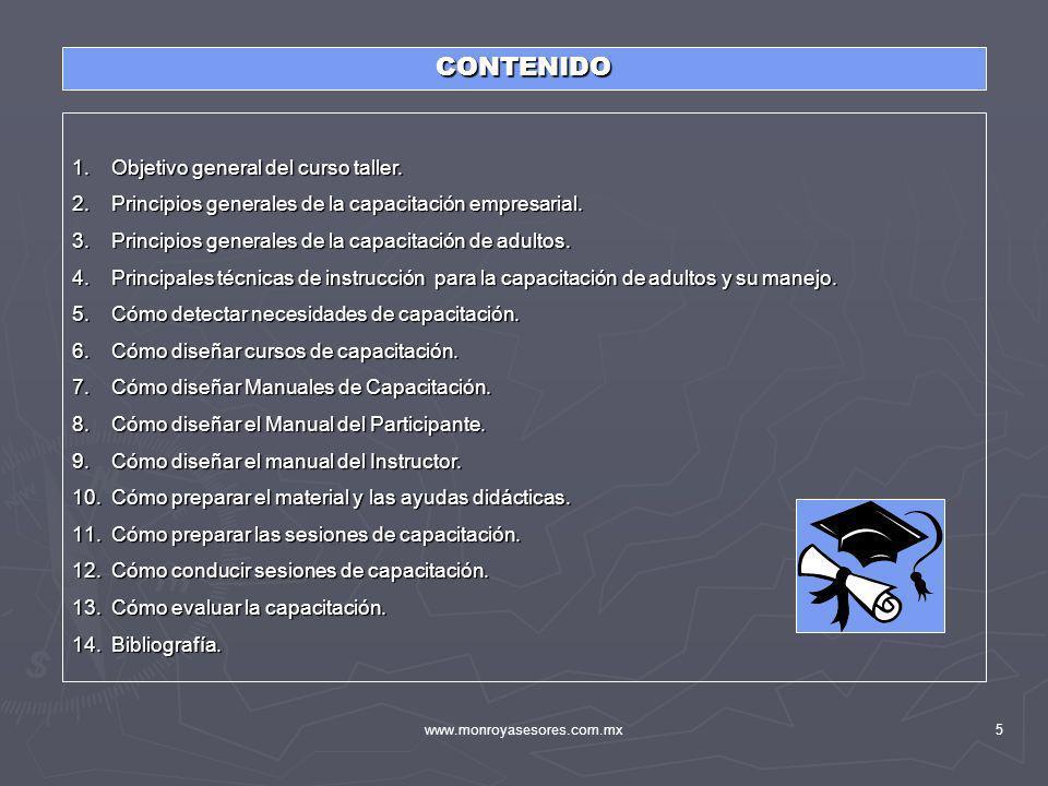 CONTENIDO Objetivo general del curso taller.