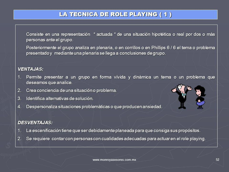 LA TECNICA DE ROLE PLAYING ( 1 )