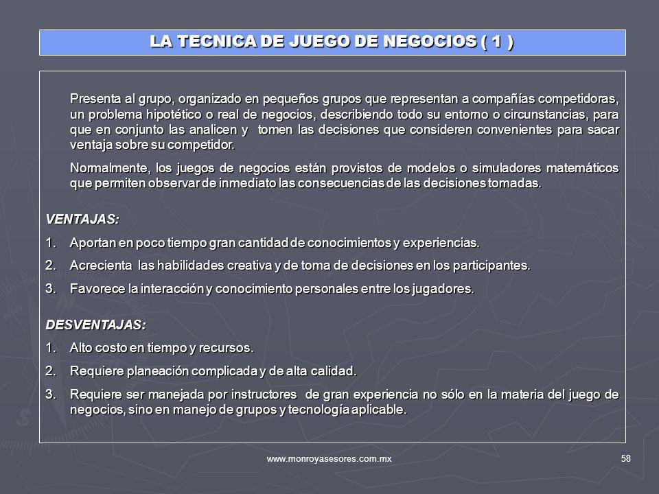 LA TECNICA DE JUEGO DE NEGOCIOS ( 1 )