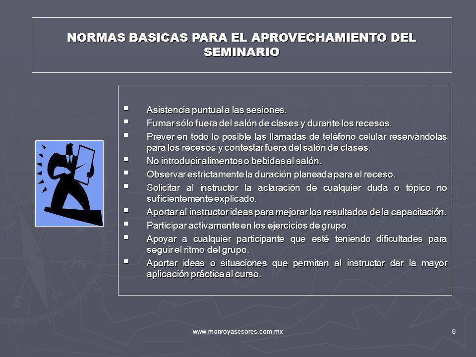 NORMAS BASICAS PARA EL APROVECHAMIENTO DEL SEMINARIO