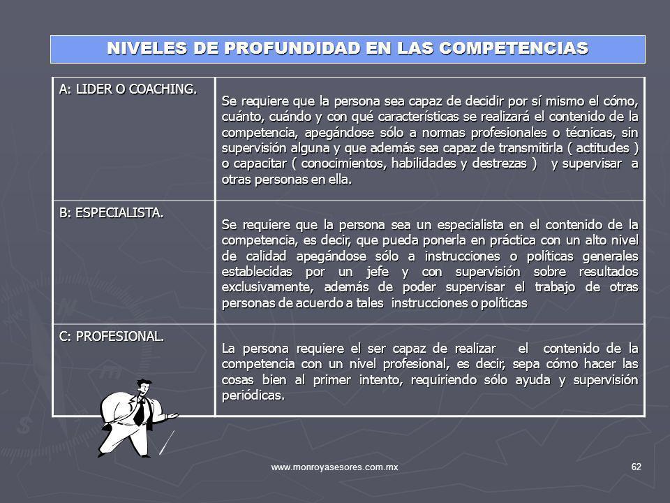 NIVELES DE PROFUNDIDAD EN LAS COMPETENCIAS