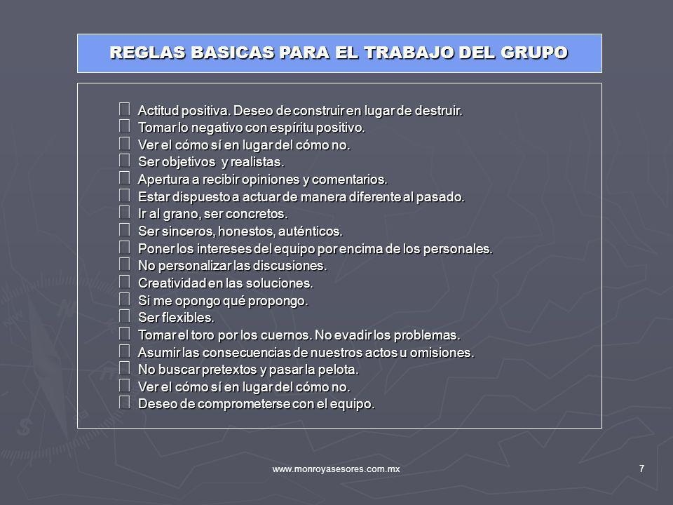 REGLAS BASICAS PARA EL TRABAJO DEL GRUPO