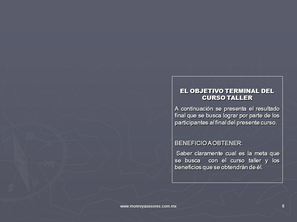 EL OBJETIVO TERMINAL DEL CURSO TALLER