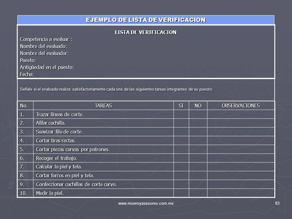 EJEMPLO DE LISTA DE VERIFICACION