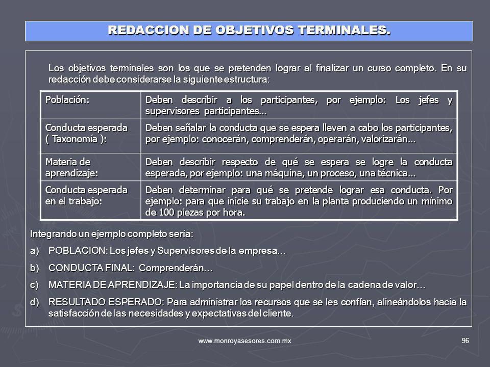 REDACCION DE OBJETIVOS TERMINALES.