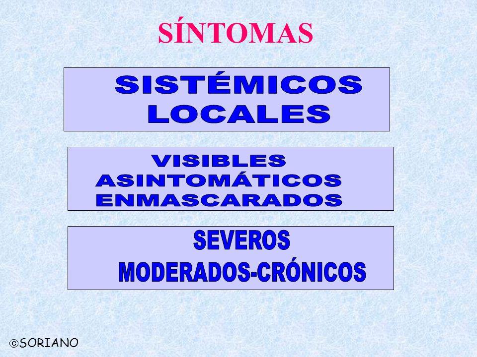 SÍNTOMAS SISTÉMICOS LOCALES VISIBLES ASINTOMÁTICOS ENMASCARADOS