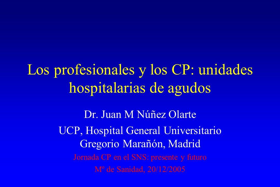 Los profesionales y los CP: unidades hospitalarias de agudos