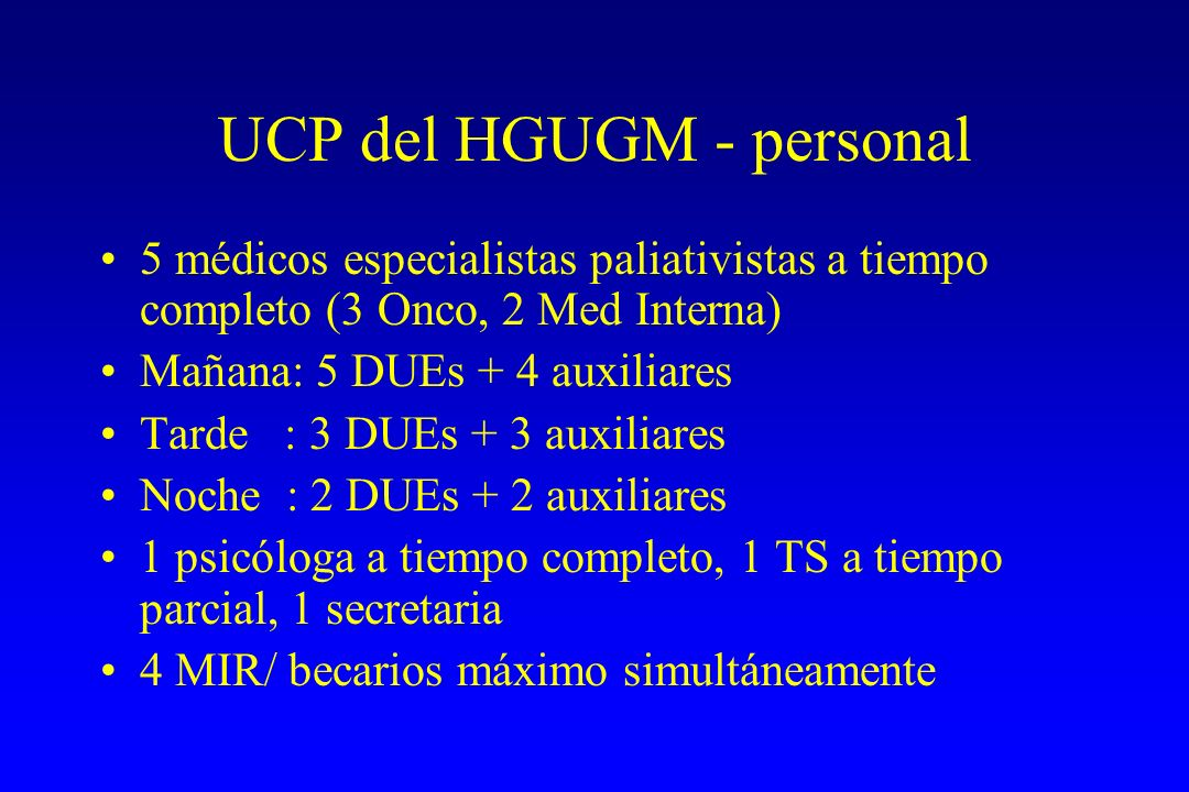 UCP del HGUGM - personal