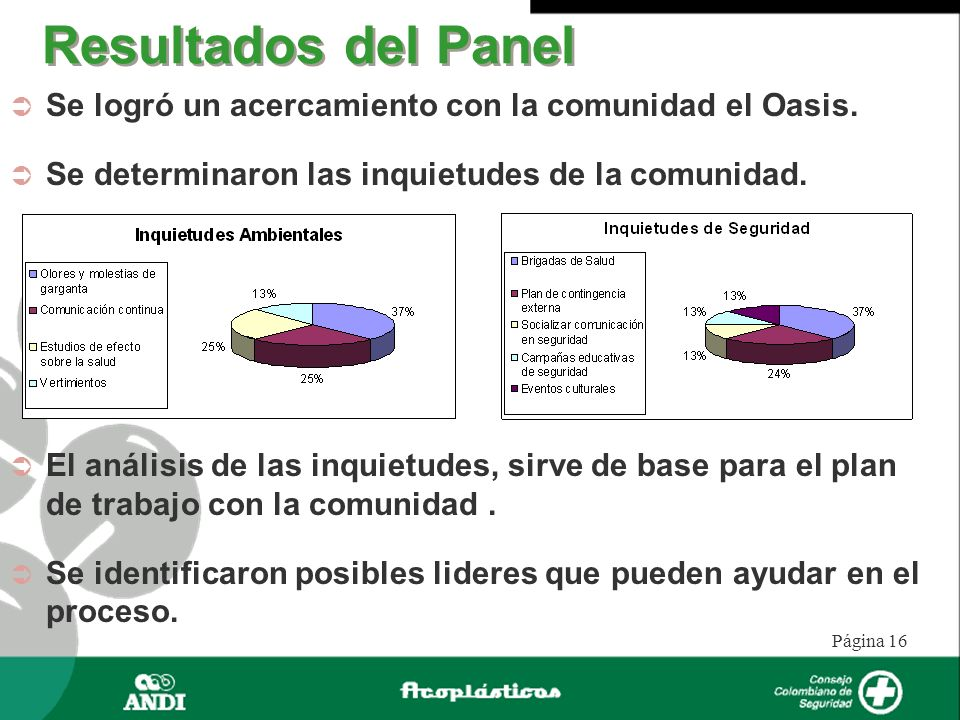 Resultados del Panel Se logró un acercamiento con la comunidad el Oasis. Se determinaron las inquietudes de la comunidad.