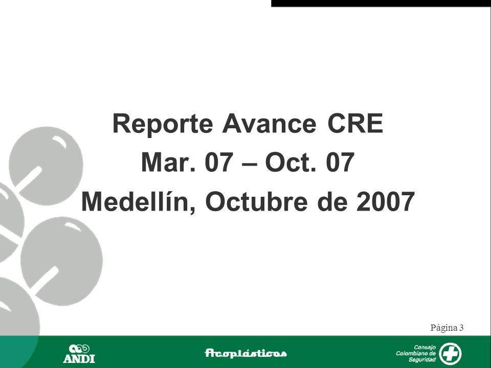 Reporte Avance CRE Mar. 07 – Oct. 07 Medellín, Octubre de 2007