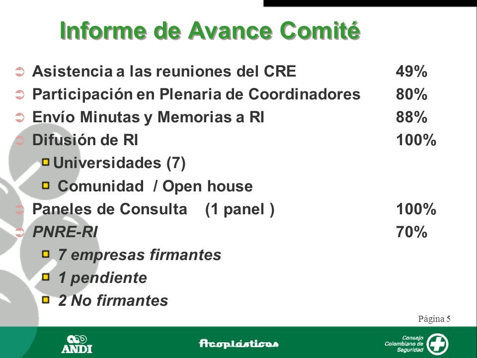 Informe de Avance Comité