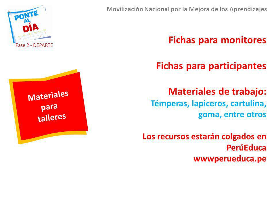 Fichas para participantes Materiales de trabajo: