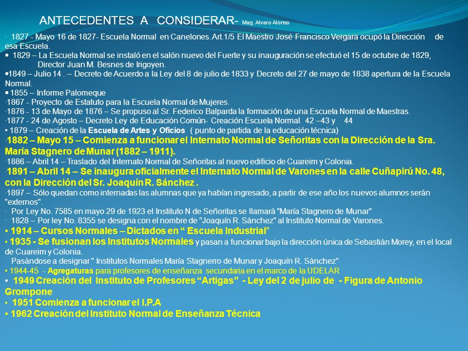 ANTECEDENTES A CONSIDERAR- Mag. Alvaro Alonso
