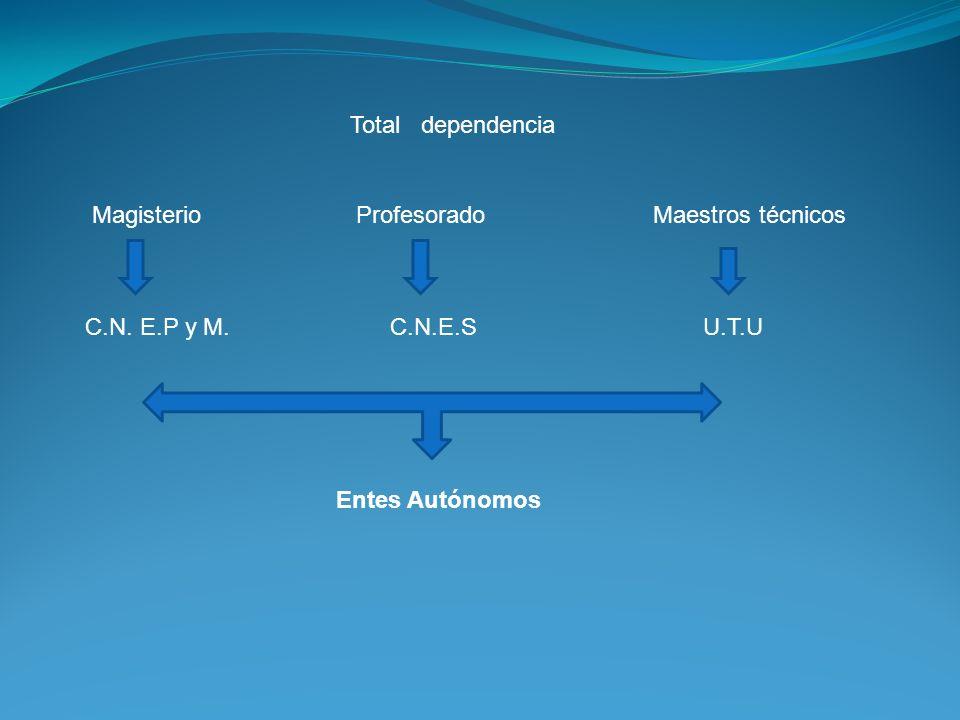 Total dependencia Magisterio Profesorado Maestros técnicos.