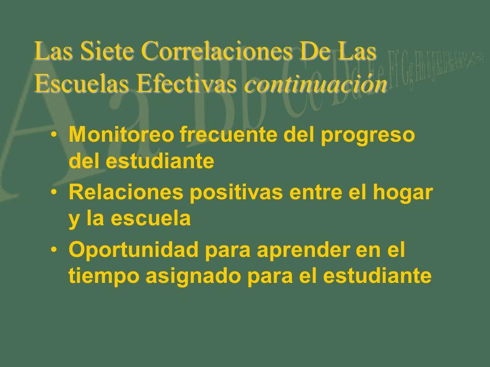 Las Siete Correlaciones De Las Escuelas Efectivas continuación