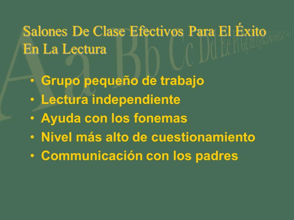 Salones De Clase Efectivos Para El Éxito En La Lectura