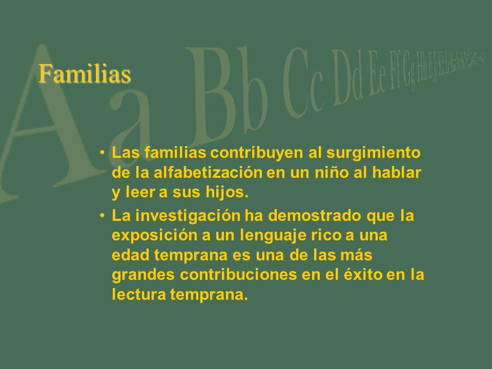 Familias Las familias contribuyen al surgimiento de la alfabetización en un niño al hablar y leer a sus hijos.