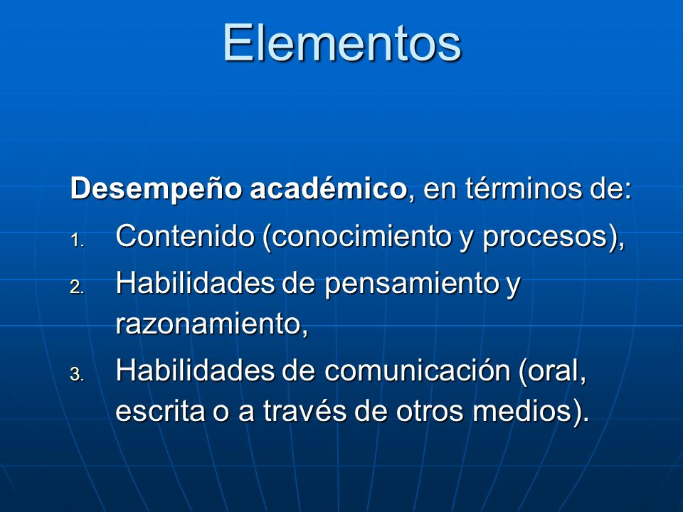 Elementos Desempeño académico, en términos de: