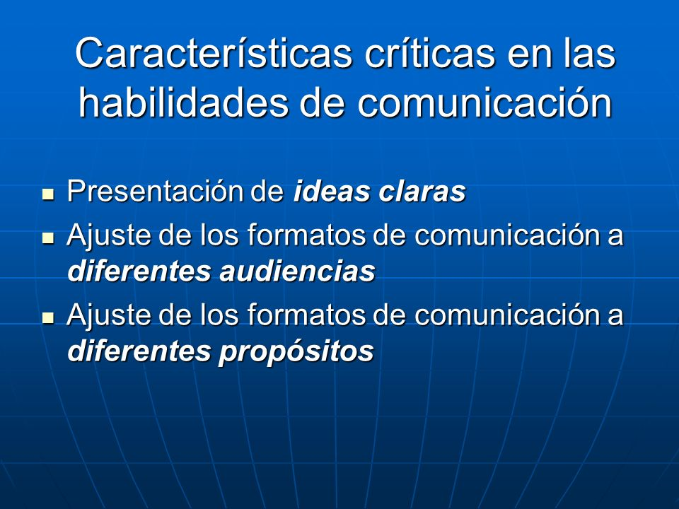 Características críticas en las habilidades de comunicación