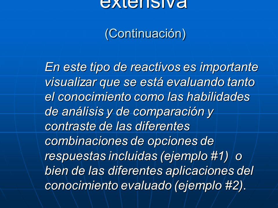 Opción múltiple extensiva (Continuación)