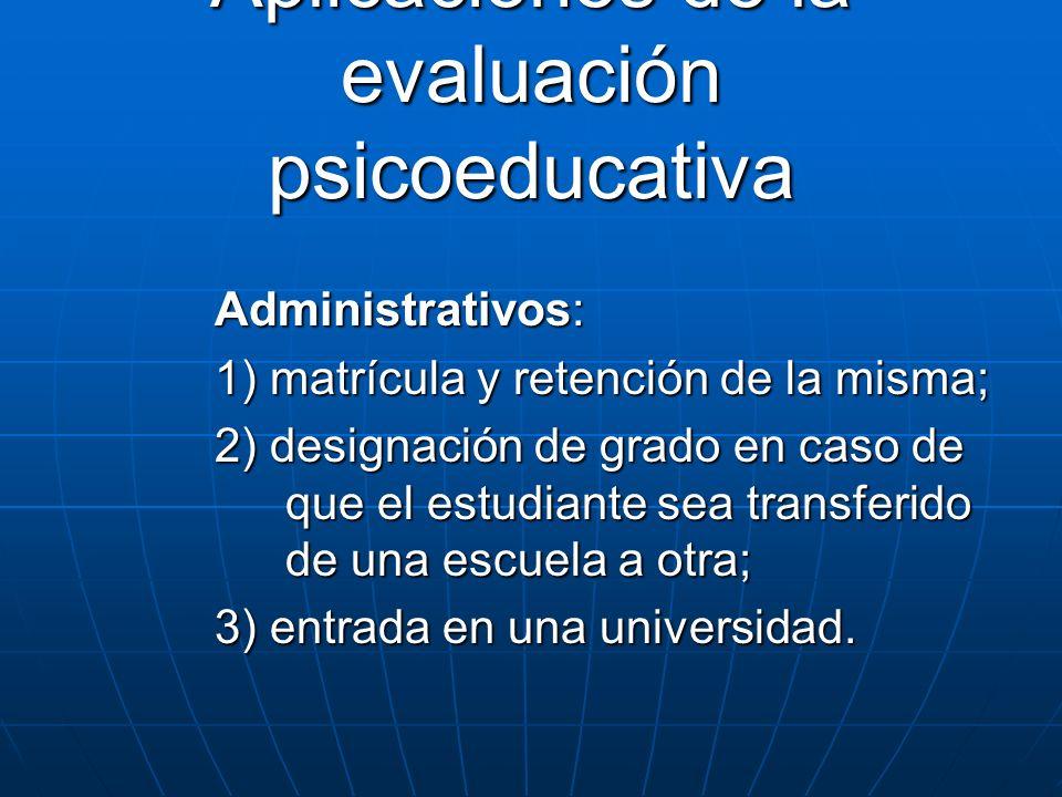 Aplicaciones de la evaluación psicoeducativa
