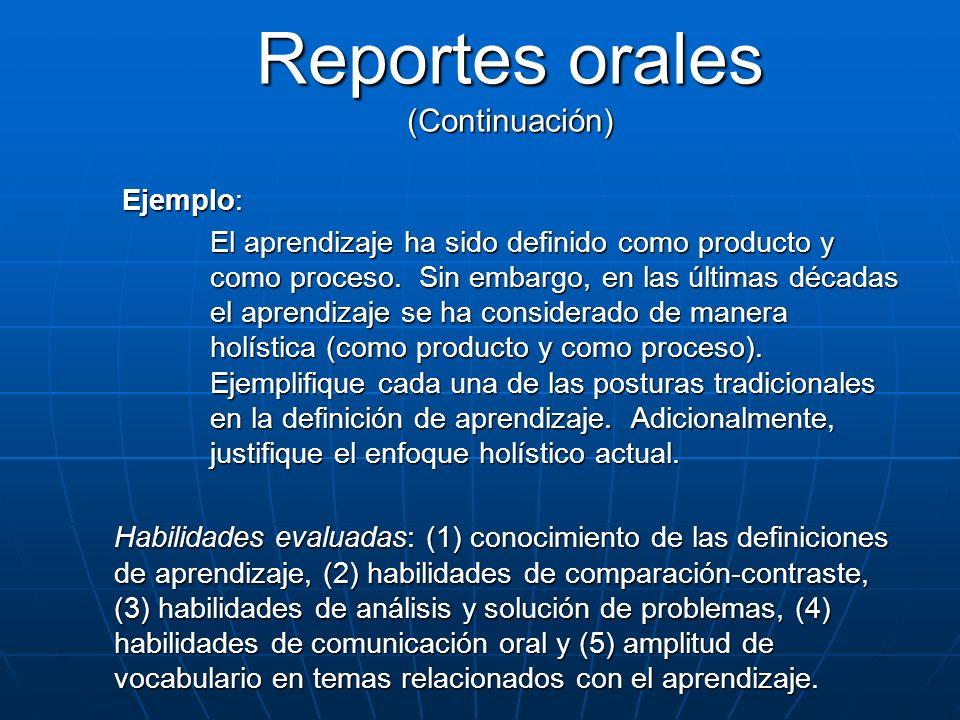 Reportes orales (Continuación)