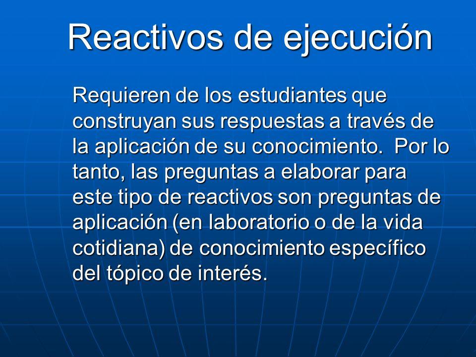 Reactivos de ejecución