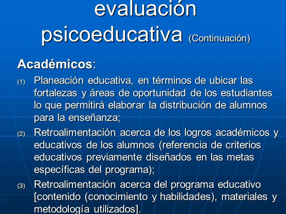 Aplicaciones de la evaluación psicoeducativa (Continuación)