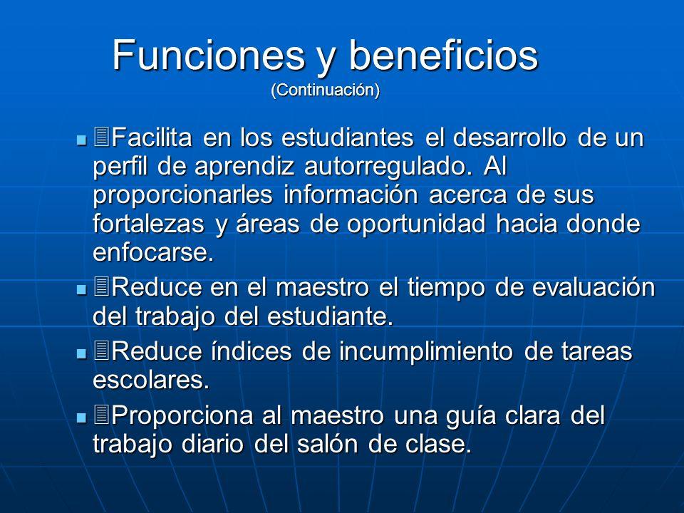 Funciones y beneficios (Continuación)