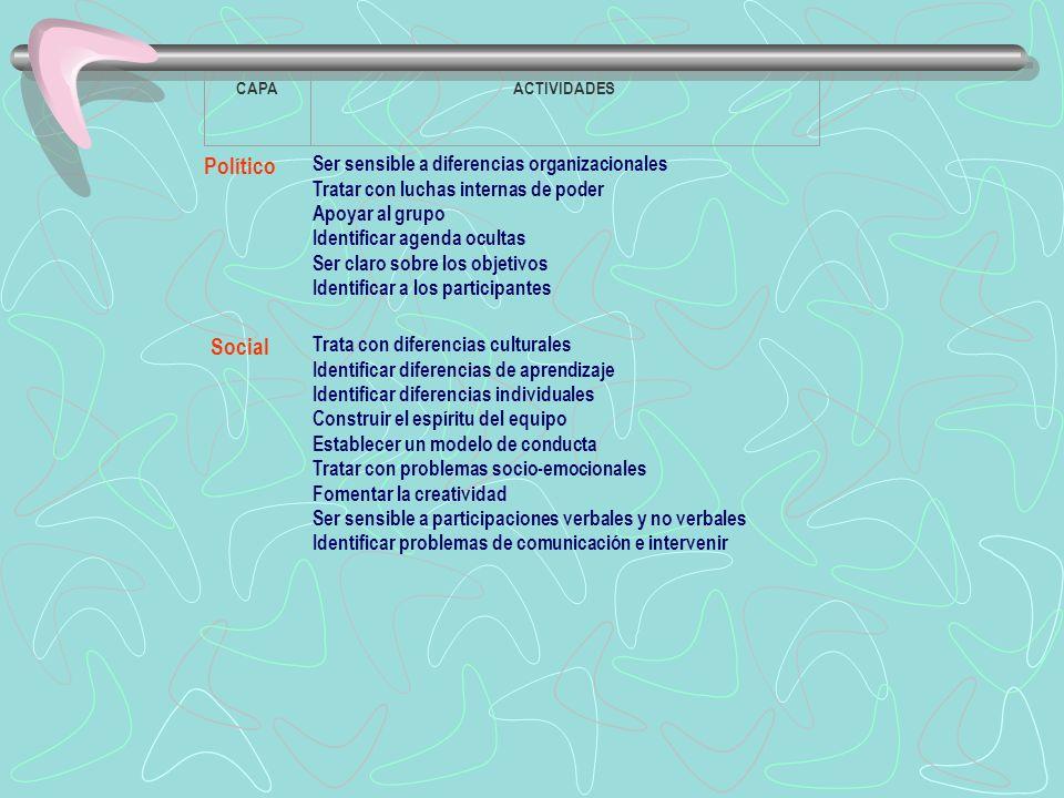 Político Social Ser sensible a diferencias organizacionales