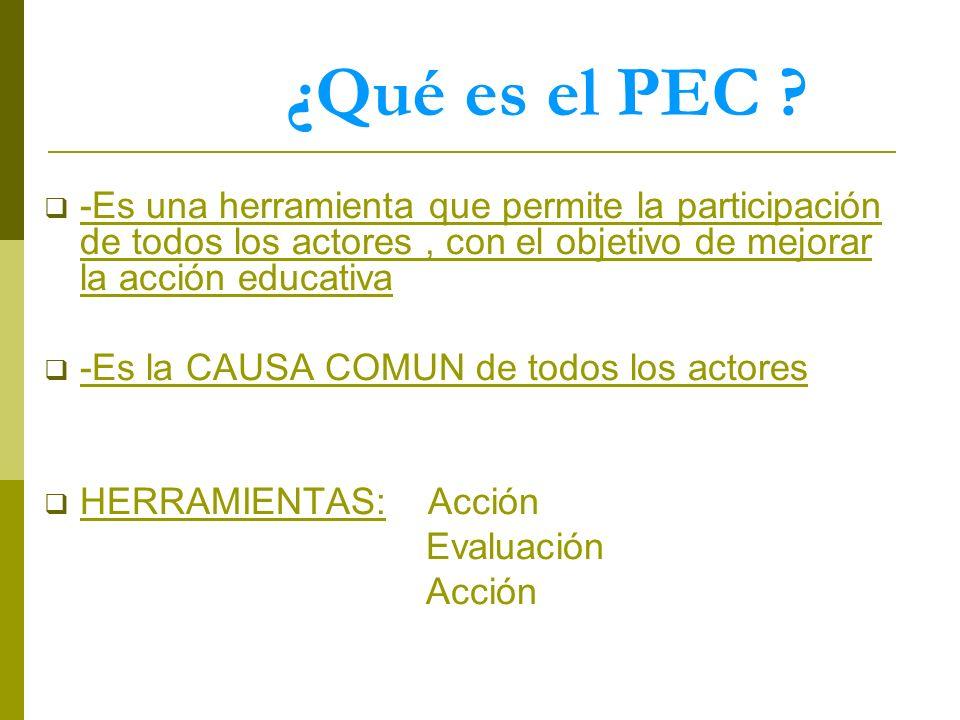 ¿Qué es el PEC -Es una herramienta que permite la participación de todos los actores , con el objetivo de mejorar la acción educativa.