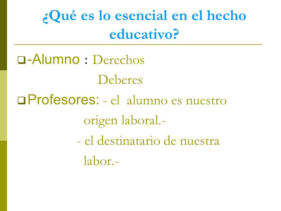 ¿Qué es lo esencial en el hecho educativo