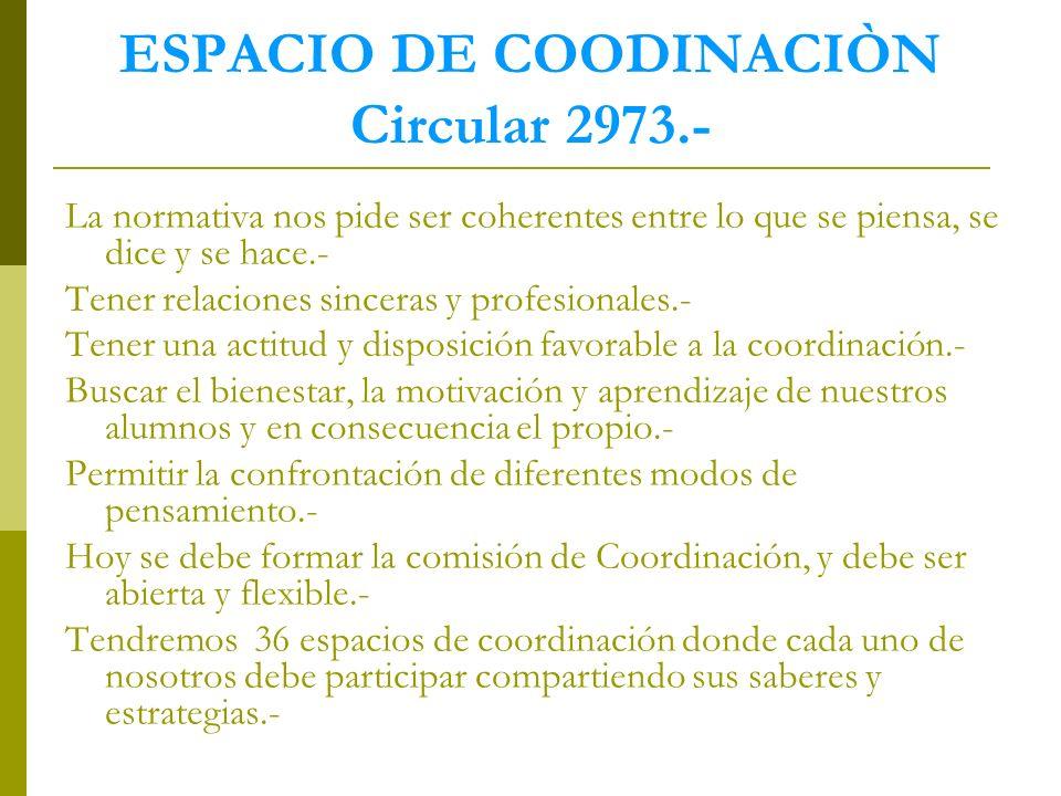 ESPACIO DE COODINACIÒN Circular 2973.-