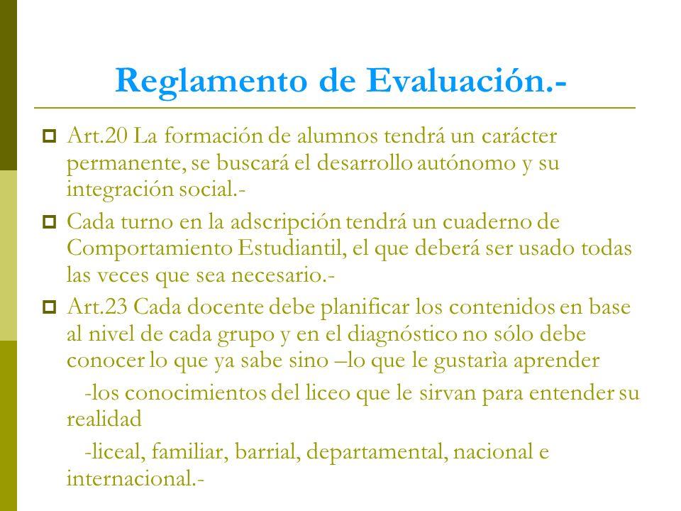 Reglamento de Evaluación.-
