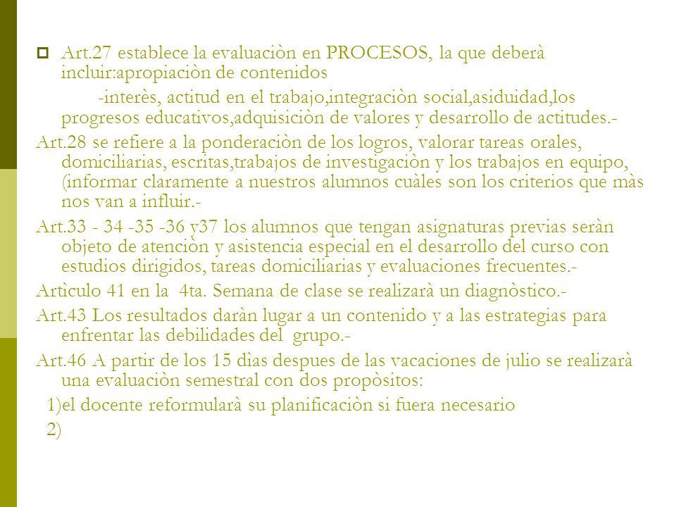 Art.27 establece la evaluaciòn en PROCESOS, la que deberà incluir:apropiaciòn de contenidos