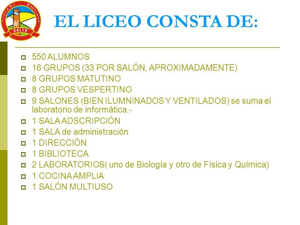 EL LICEO CONSTA DE: 550 ALUMNOS