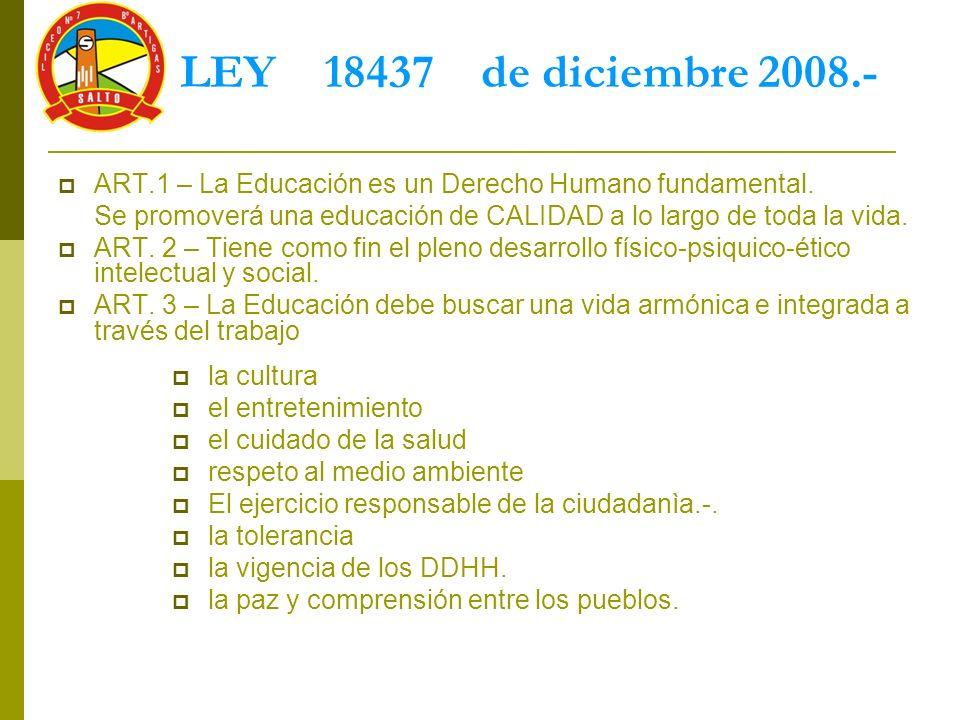 LEY 18437 de diciembre 2008.- ART.1 – La Educación es un Derecho Humano fundamental.