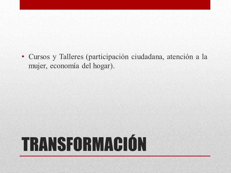 Cursos y Talleres (participación ciudadana, atención a la mujer, economía del hogar).