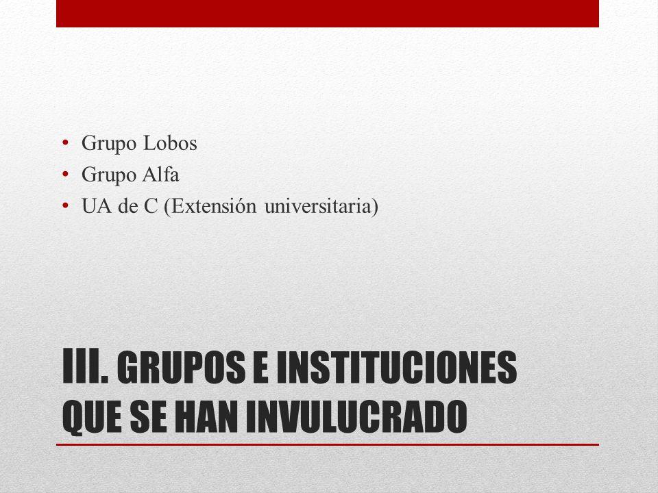 III. GRUPOS E INSTITUCIONES QUE SE HAN INVULUCRADO